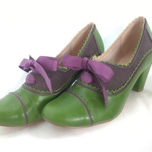 Green/purple ChelseaCrew Madison heels 39 FITS 7.5